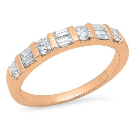 0.47 Carat (Ctw) 18K Rose Gold Round & Baguette Cut White Diamond Ladies Anniversary Wedding Band Stackable Ring 1/4 CT