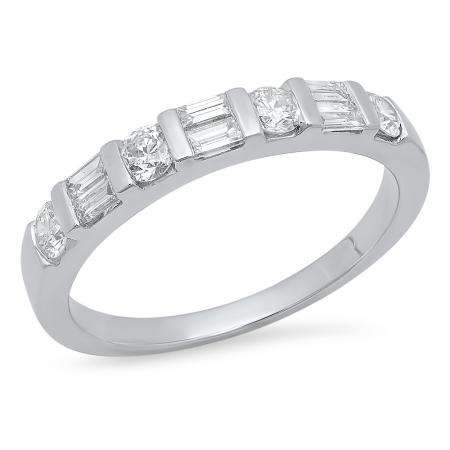 0.47 Carat (Ctw) 18K White Gold Round & Baguette Cut White Diamond Ladies Anniversary Wedding Band Stackable Ring 1/4 CT