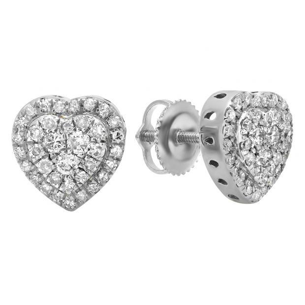 0.50 Carat (Ctw) 10K White Gold Round White Diamond Ladies Heart Shaped Stud Earrings 1/2 CT