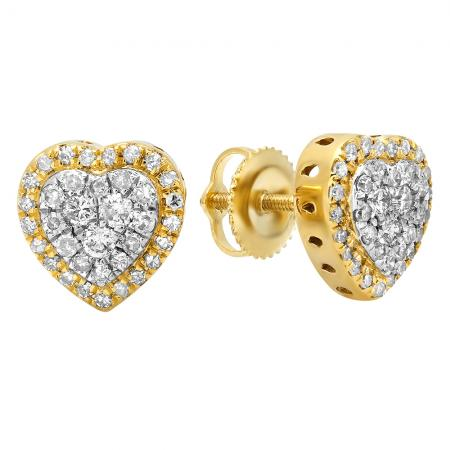 0.50 Carat (Ctw) 10K Yellow Gold Round White Diamond Ladies Heart Shaped Stud Earrings 1/2 CT