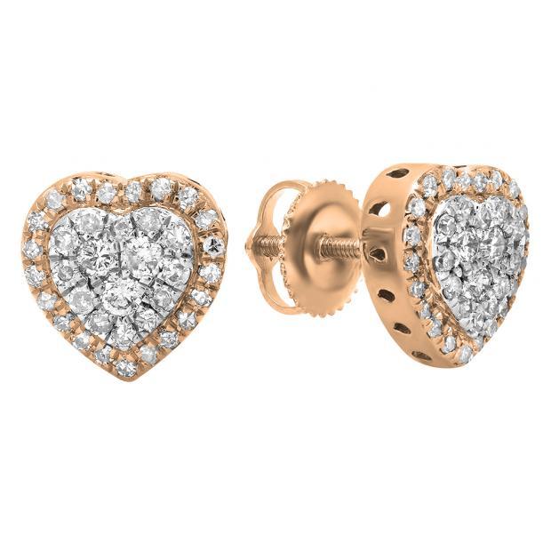 0.50 Carat (Ctw) 18K Rose Gold Round White Diamond Ladies Heart Shaped Stud Earrings 1/2 CT