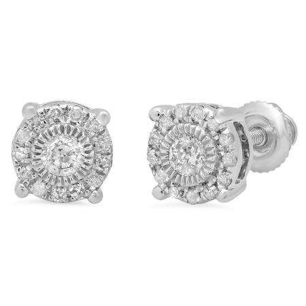 0.25 Carat (Ctw) 18K White Gold Round Cut Diamond Ladies Circle Stud Earrings 1/4 CT