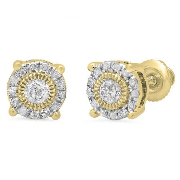 0.25 Carat (Ctw) 18K Yellow Gold Round Cut Diamond Ladies Circle Stud Earrings 1/4 CT