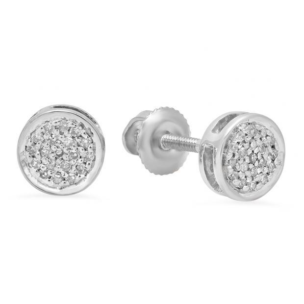 0.10 Carat (Ctw) 10K White Gold Round White Diamond Ladies Circle Cluster Stud Earrings 1/10 CT