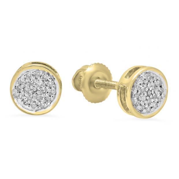0.10 Carat (Ctw) 10K Yellow Gold Round White Diamond Ladies Circle Cluster Stud Earrings 1/10 CT