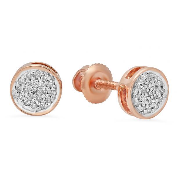 0.10 Carat (Ctw) 18K Rose Gold Round White Diamond Ladies Circle Cluster Stud Earrings 1/10 CT