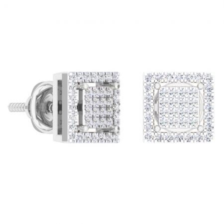 0.32 Carat (Ctw) 10K White Gold Round Cut White Diamond Square Shaped Stud Earrings 1/3 CT