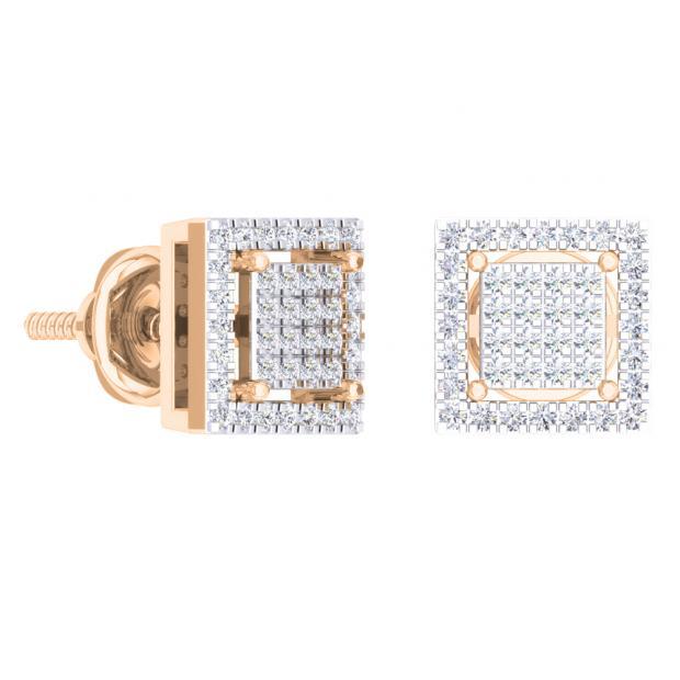 0.32 Carat (Ctw) 14K Rose Gold Round Cut White Diamond Square Shaped Stud Earrings 1/3 CT