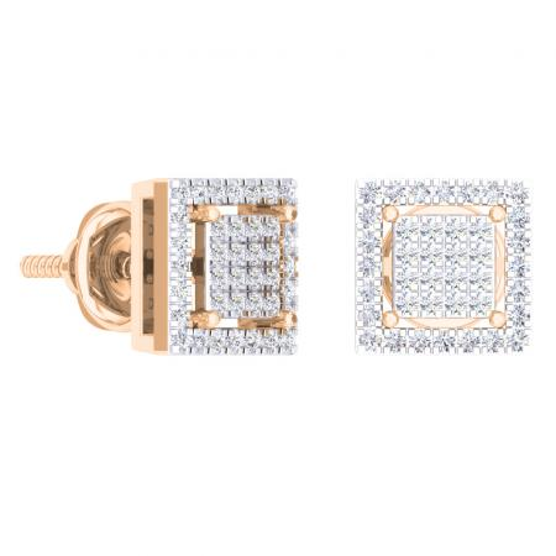 0.32 Carat (Ctw) 18K Rose Gold Round Cut White Diamond Square Shaped Stud Earrings 1/3 CT