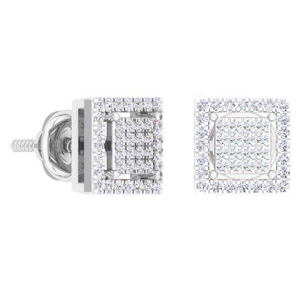 0.32 Carat (Ctw) 18K White Gold Round Cut White Diamond Square Shaped Stud Earrings 1/3 CT