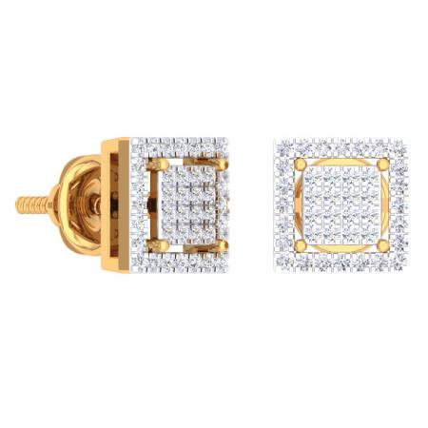 0.32 Carat (Ctw) 18K Yellow Gold Round Cut White Diamond Square Shaped Stud Earrings 1/3 CT