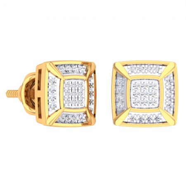 0.15 Carat (Ctw) 14K Yellow Gold White Round Diamond Prong Set Square Shaped Stud Earrings