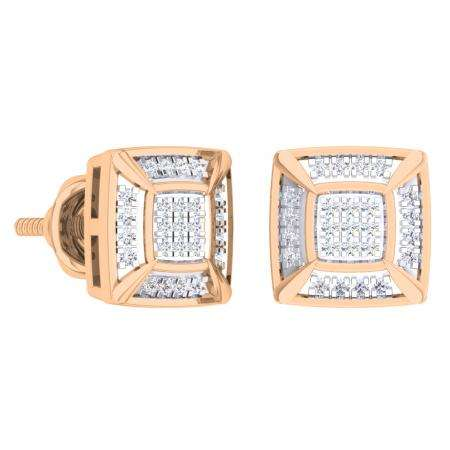 0.15 Carat (Ctw) 18K Rose Gold White Round Diamond Prong Set Square Shaped Stud Earrings