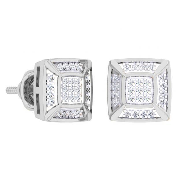 0.15 Carat (Ctw) 18K White Gold White Round Diamond Prong Set Square Shaped Stud Earrings