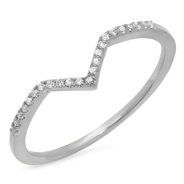 0.10 Carat (ctw) 10K White Gold Round White Diamond Wedding Stackable Band Anniversary Guard Chevron Ring 1/10 CT