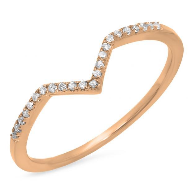0.10 Carat (ctw) 18K Rose Gold Round White Diamond Wedding Stackable Band Anniversary Guard Chevron Ring 1/10 CT