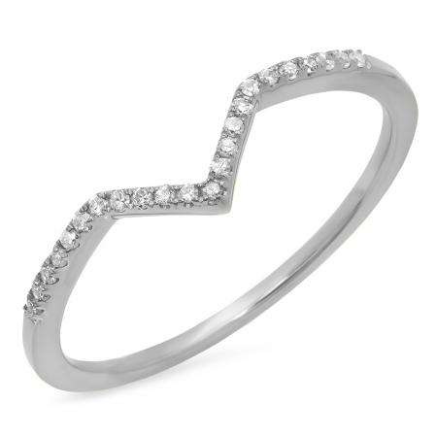 0.10 Carat (ctw) 18K White Gold Round White Diamond Wedding Stackable Band Anniversary Guard Chevron Ring 1/10 CT