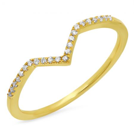 0.10 Carat (ctw) 18K Yellow Gold Round White Diamond Wedding Stackable Band Anniversary Guard Chevron Ring 1/10 CT
