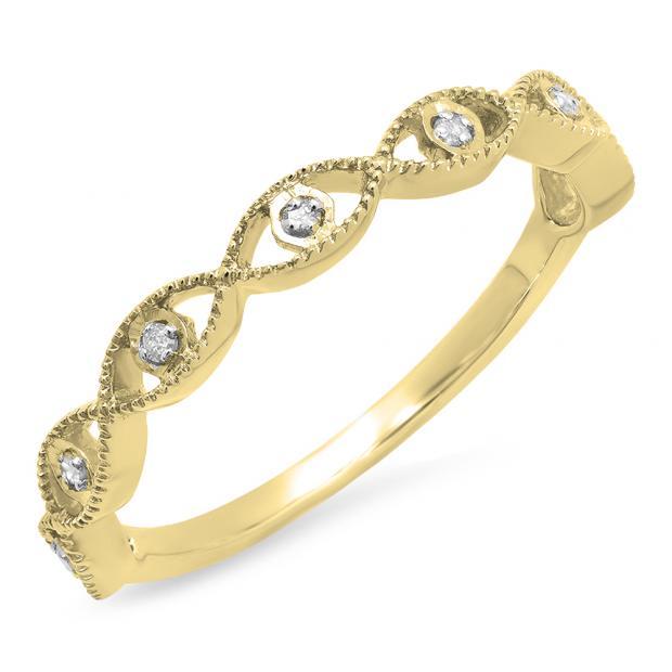 0.05 Carat (ctw) 10K Yellow Gold Round White Diamond Ladies Anniversary Wedding Stackable Band Ring