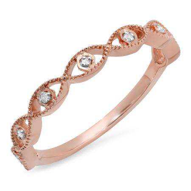 0.05 Carat (ctw) 14K Rose Gold Round White Diamond Ladies Anniversary Wedding Stackable Band Ring
