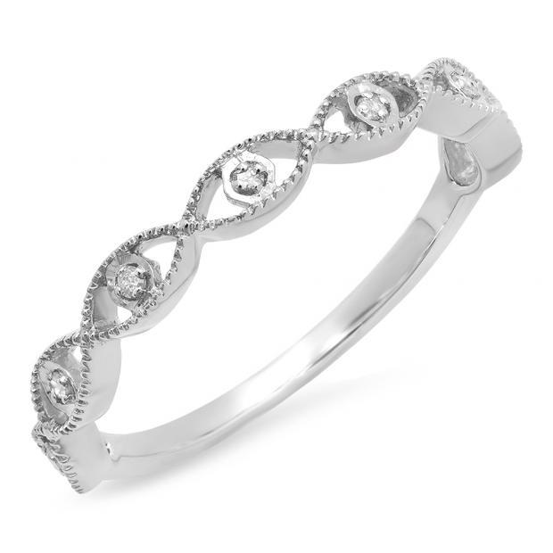 0.05 Carat (ctw) 14K White Gold Round White Diamond Ladies Anniversary Wedding Stackable Band Ring