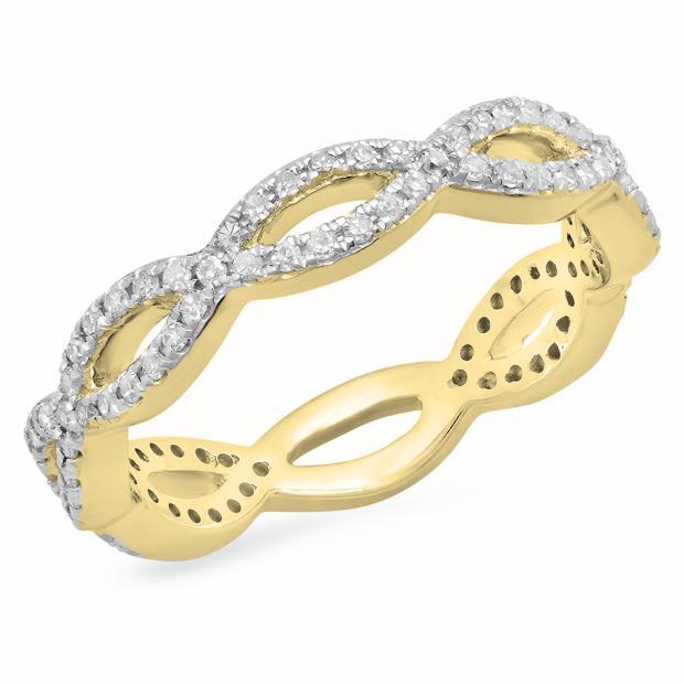 0.30 Carat (ctw) 10K Yellow Gold Round White Diamond Ladies Swirl Style Anniversary Wedding Eternity Band Stackable Ring 1/3 CT