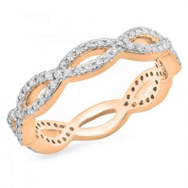 0.30 Carat (ctw) 14K Rose Gold Round White Diamond Ladies Swirl Style Anniversary Wedding Eternity Band Stackable Ring 1/3 CT