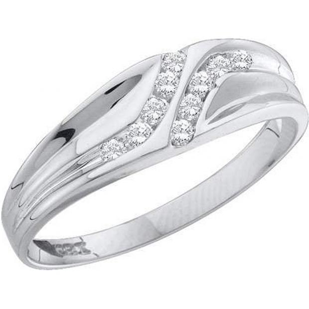 0.10 Carat (ctw) 10K White Gold Round Cut White Diamond Men