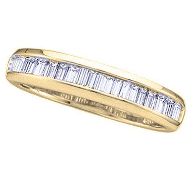 0.40 Carat (ctw) 10K Yellow Gold Baguette White Diamond Ladies Anniversary Wedding Stackable Band