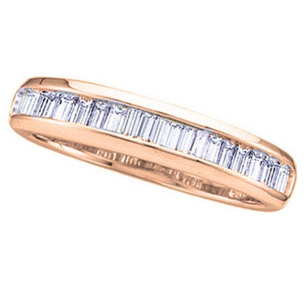 0.40 Carat (ctw) 14K Rose Gold Baguette White Diamond Ladies Anniversary Wedding Stackable Band