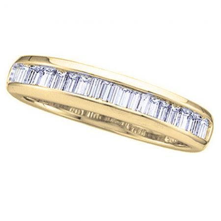 0.40 Carat (ctw) 18K Yellow Gold Baguette White Diamond Ladies Anniversary Wedding Stackable Band