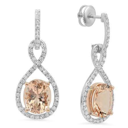 5.50 Carat (ctw) Two Tone Rose Gold Plated 18K White Gold Oval Morganite & Round White Diamond Ladies Infinity Dangling Earrings