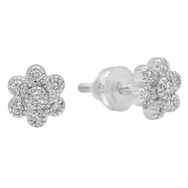 0.20 Carat (ctw) 10K White Gold Round Cut White Diamond Ladies Cluster Flower Shaped Stud Earrings 1/5 CT
