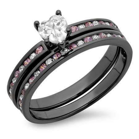 1.80 Carat (ctw) Black Rhodium Plated Sterling Silver Heart Cut White & Round Pink Sapphire Cubic Zirconia Ladies Bridal Engagement Ring With Matching Band Set
