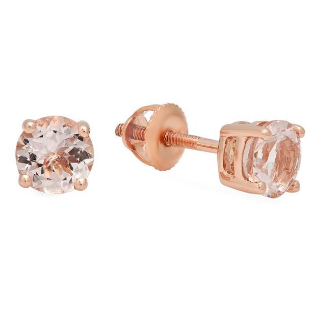 0.45 Carat (ctw) 14K Rose Gold Round Cut Morganite Ladies Solitaire Stud Earrings 1/2 CT