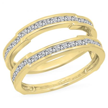 1.15 Carat (ctw) 18K Yellow Gold Princess Cut White Diamond Ladies Anniversary Wedding Band Enhancer Guard Double Ring 1 1/4 CT