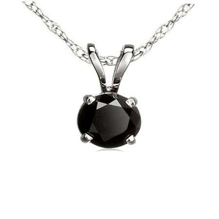 3.00 Carat (ctw) Sterling Silver Round Cut Black Diamond Ladies Solitaire Pendant (Chain Included) 3 CT