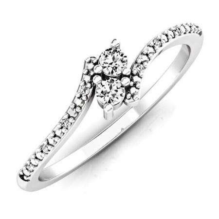 0.30 Carat (ctw) 10K White Gold Round White Diamond Ladies Forever Together Two Stone Bypass Style Swirl Bridal Engagement Ring 1/3 CT