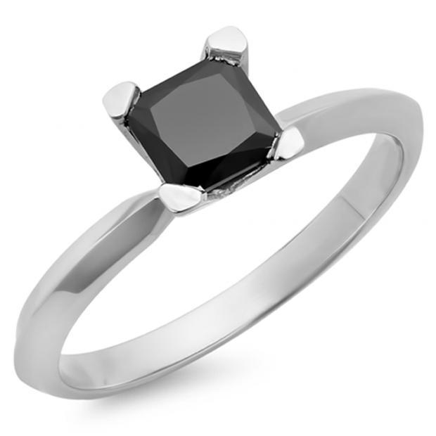 2.00 Carat (Ctw) 10K White Gold Princess Cut Black Diamond Ladies Solitaire Bridal Engagement Ring 2 CT