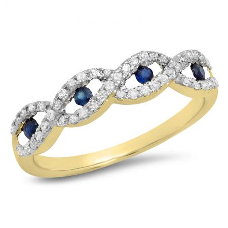 0.28 Carat (ctw) 18K Yellow Gold Round Blue Sapphire & White Diamond Ladies Bridal Stackable Anniversary Wedding Band Swirl Ring 1/4 CT