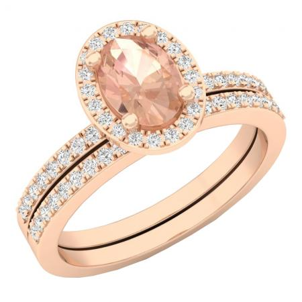 1.45 Carat (ctw) 10K Rose Gold Oval Cut Morganite & Round Cut White Diamond Ladies Bridal Halo Engagement Ring With Matching Band Set 1 1/2 CT