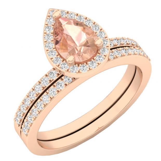 18K Rose Gold 7X5 MM Pear Morganite & Round Diamond Ladies Bridal Engagement Ring With Band Set