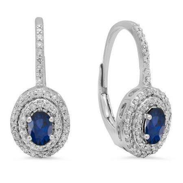 1.00 Carat (ctw) 10K White Gold Oval Cut Blue Sapphire & Round Cut White Diamond Ladies Halo Style Dangling Drop Earrings 1 CT