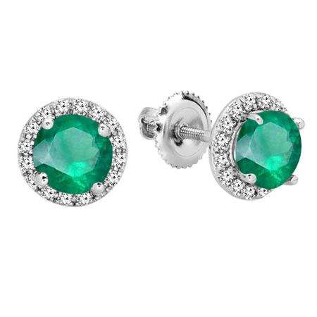 2 Carat Emerald /& Diamond Round Stud Earrings White Gold Silver