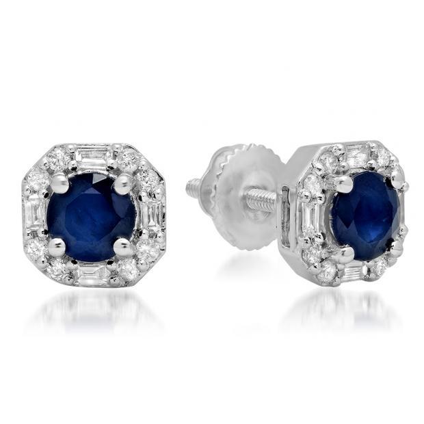 1.40 Carat (ctw) 18K White Gold Round Cut Blue Sapphire & Baguette & Round Cut White Diamond Ladies Halo Style Stud Earrings