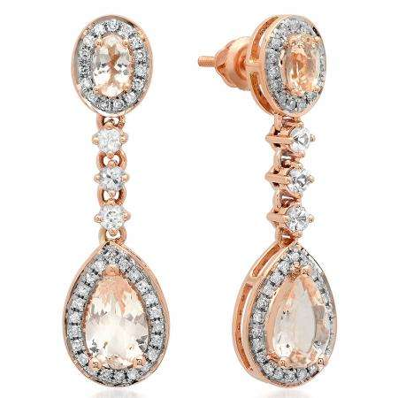 57a84ff39 2.65 Carat (ctw) 10K Rose Gold Pear & Oval Cut Morganite & Round Cut White  Sapphire & White Diamond Ladies Halo Style Dangling Drop Earrings