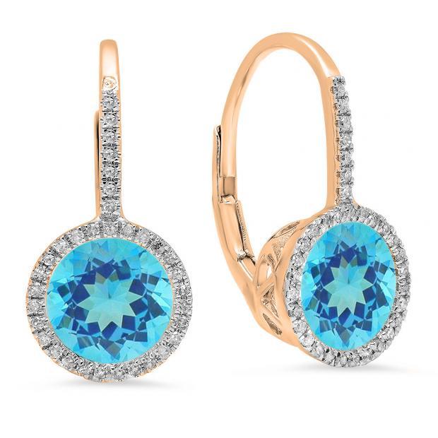 3.70 Carat (ctw) 10K Rose Gold Round Cut Blue Topaz & White Diamond Ladies Halo Style Hoop Earrings