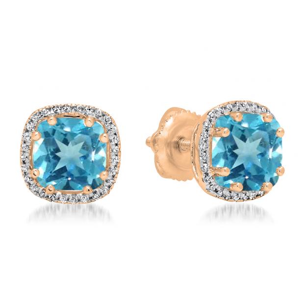 2.40 Carat (ctw) 10K Rose Gold Cushion Cut Blue Topaz & Round Cut White Diamond Ladies Halo Style Stud Earrings