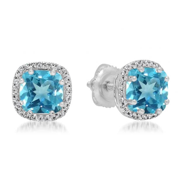 2.40 Carat (ctw) 14K White Gold Cushion Cut Blue Topaz & Round Cut White Diamond Ladies Halo Style Stud Earrings