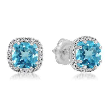 2.40 Carat (ctw) 18K White Gold Cushion Cut Blue Topaz & Round Cut White Diamond Ladies Halo Style Stud Earrings